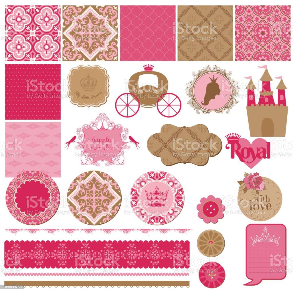 Scrapbook Design Elements - Princess Girl Birthday Set vector art illustration