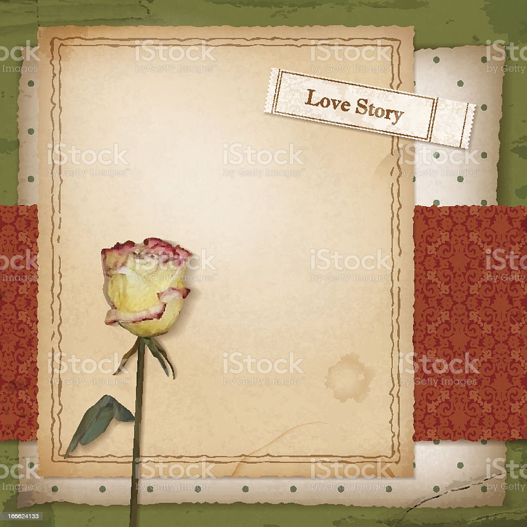 Scrapbook old paper background with dried rose royalty-free scrapbook old paper background with dried rose stock vector art & more images of art