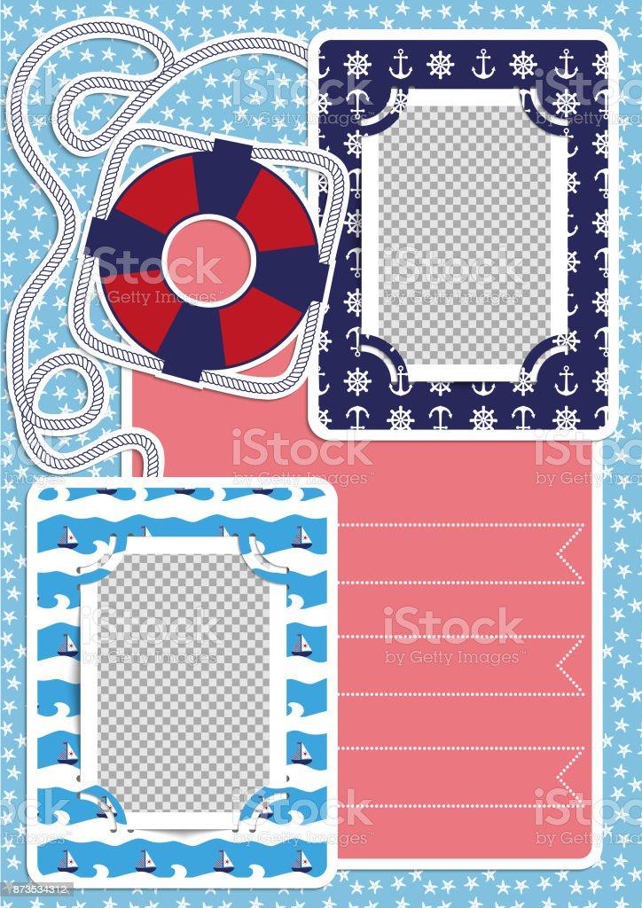 scrapbooking ideen fotoalbum im nautischen stil kinder fotobuch stock vektor art und mehr bilder. Black Bedroom Furniture Sets. Home Design Ideas
