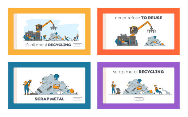 Scrapmetal Recycle Industry Landing Page Template Set. Characters Recycling Old Metal and Broken Technique on Junkyard Scrapmetal Recycle Industry Landing Page Template Set. Characters Recycling Old Metal Things and Broken Technique on Junkyard. Crane Arm Loading Metal Scrap. Linear People Vector Illustration human limb stock illustrations