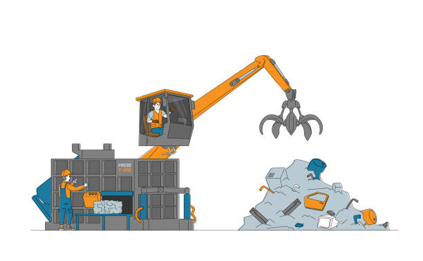 Scrapmetal Recycling and Reuse Concept. Workers in Uniform Control Crane Arm Loading and Press Metal Scrap on Scrapyard Scrapmetal Recycling and Reuse Concept. Male Worker Characters in Uniform and Hardhats Control Crane Arm Loading and Press Metal Scrap on Scrapyard, Manufacturing Process. Linear Vector Illustration human limb stock illustrations