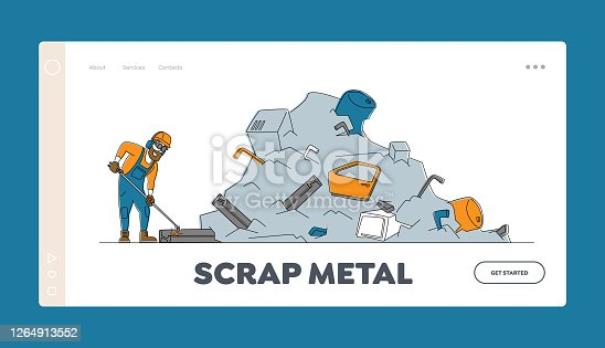 istock Scrapmetal Recycling or Reuse Landing Page Template. Worker in Uniform, Protective Glasses and Hardhat Welding Iron Rail 1264913552
