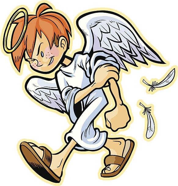 scrappy angel mit roten haaren vektor-comic - schutzengel stock-grafiken, -clipart, -cartoons und -symbole