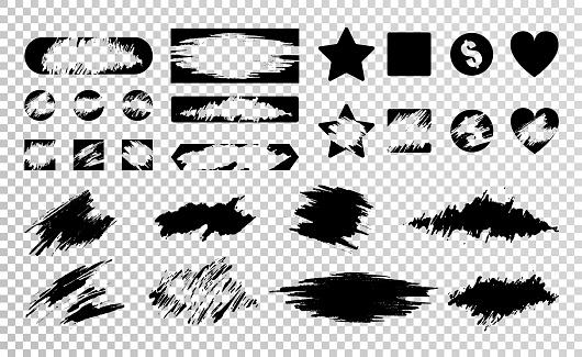 scratch card grunge texture black set