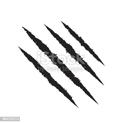 istock Scratch claws of animal. Tiger claws. Design element. Vector illustration 964233724