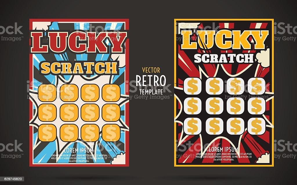scratch off lottery ticket vector design template vector art illustration