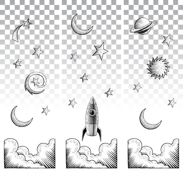 scratchboard style ink drawings of sky elements - граттаж stock illustrations