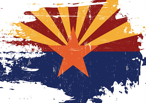 Scratched Arizona Flag vector art illustration