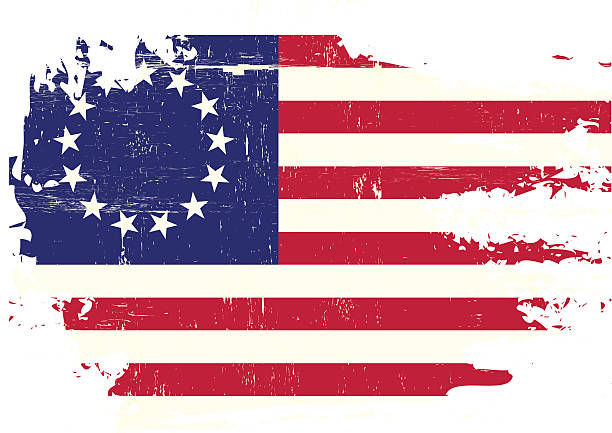 Scratched betsy Ross Flag A flag of Old Union with a grunge texture distressed american flag stock illustrations