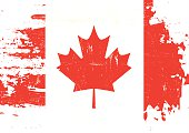 A flag of Canada with a grunge texture