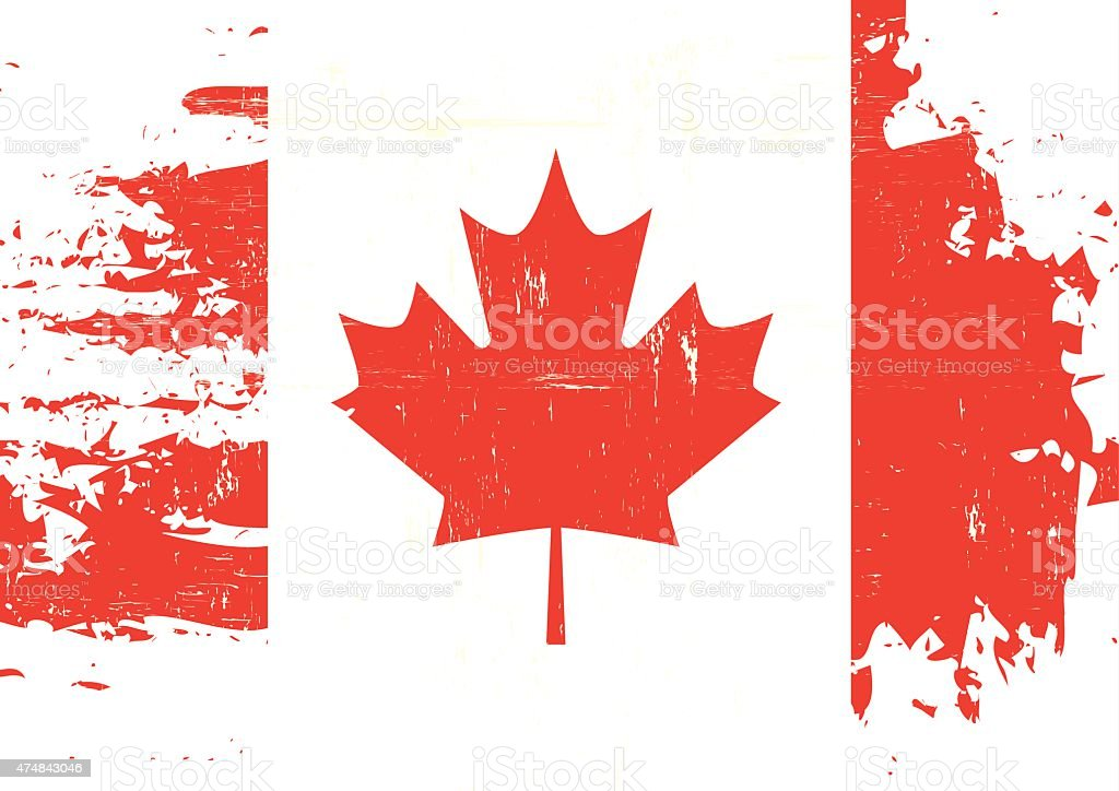 Scratched Canadian Flag vector art illustration