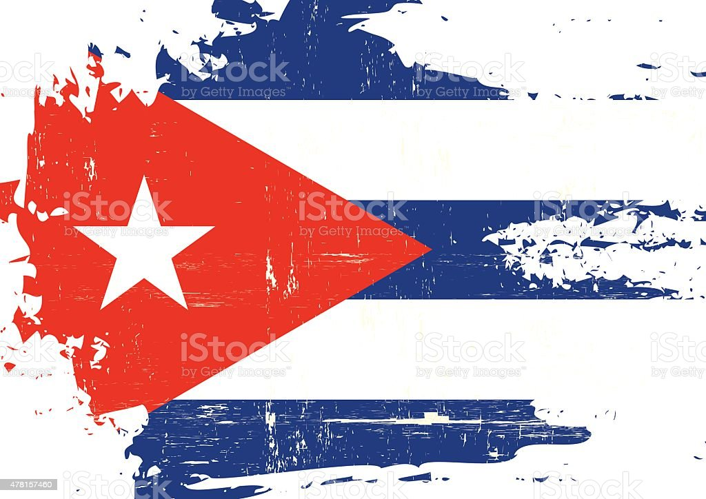 Scratched Cuban Flag vector art illustration