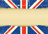 Horizontal frame on a UK grunge Flag for your text.