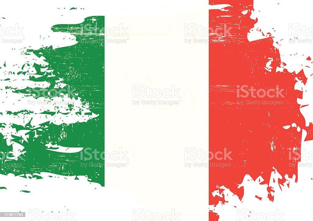 Scratched italian Flag vector art illustration
