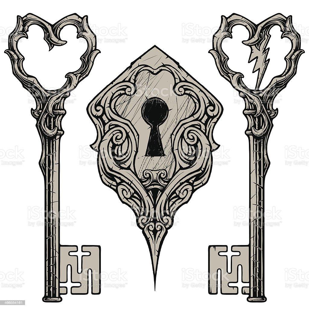 Scratched Keys & Keyhole vector art illustration