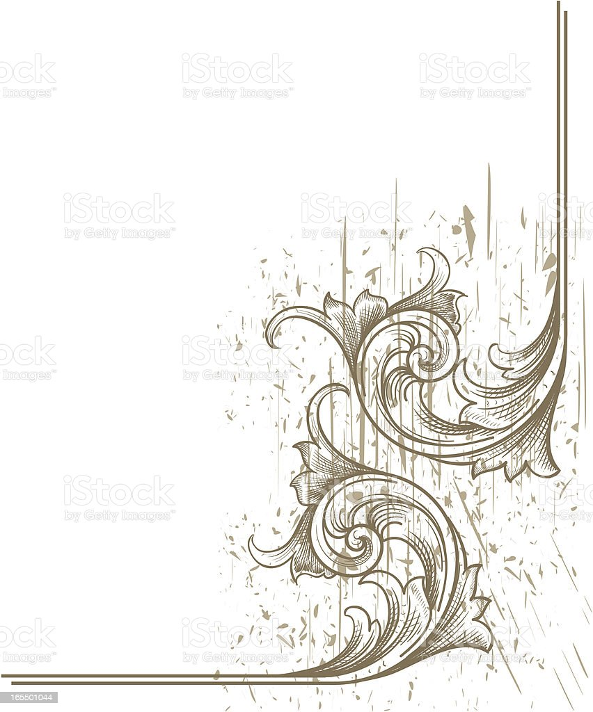 Scratched Scroll Corner royalty-free stock vector art