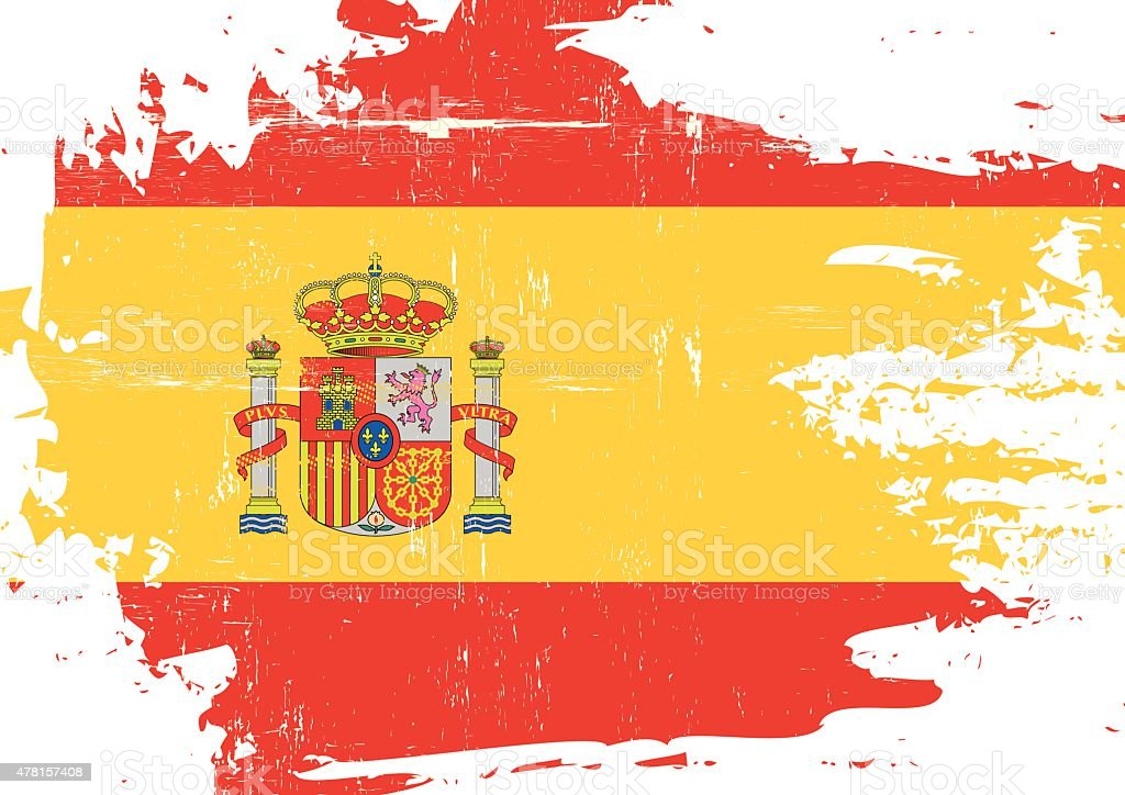 Scratched Spanish Flag vector art illustration
