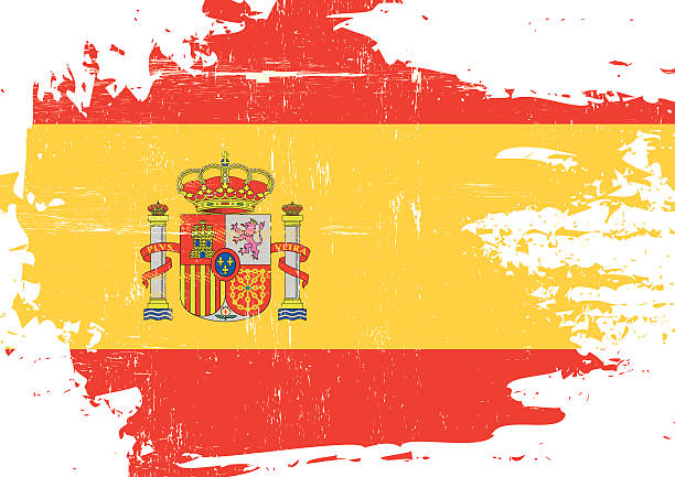 scratched spanish flag - spanish flag stock illustrations, clip art, cartoons, & icons