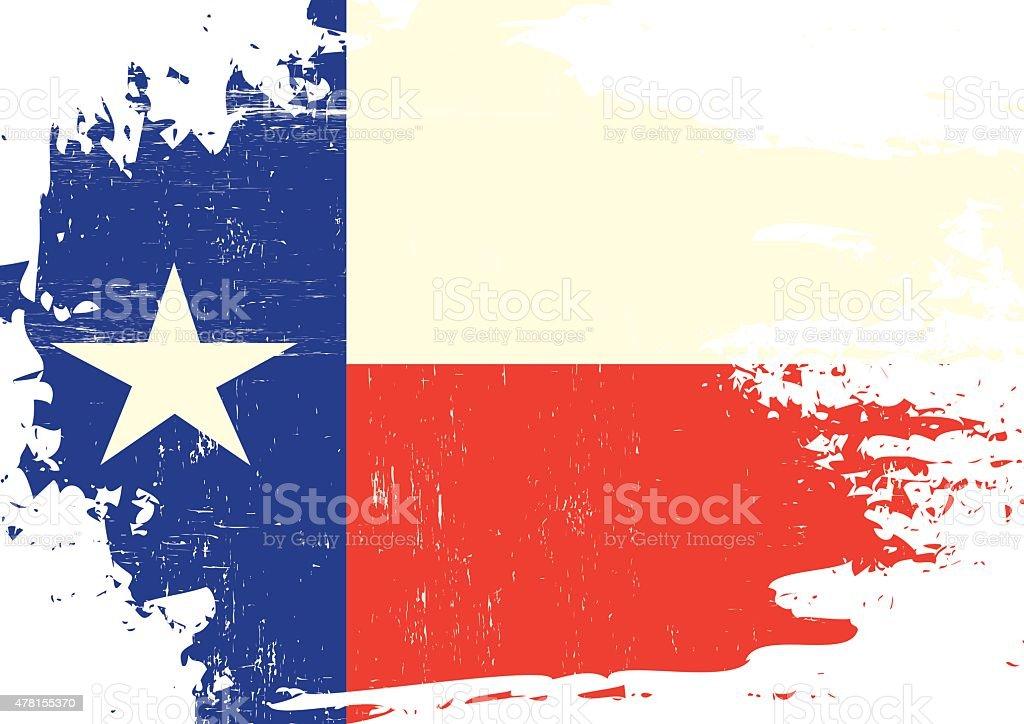 Scratched Texas Flag vector art illustration