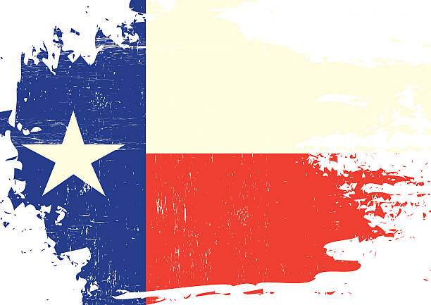 Scratched Texas Flag Vector Art Illustration