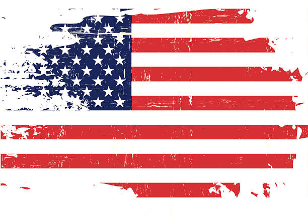 Scratched US Flag An american flag with a grunge texture distressed american flag stock illustrations