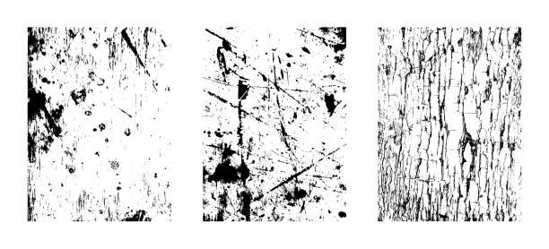 Kratzende Texturen, Grunge Hintergründe. Vektor-Cliparts Illustrationen isoliert auf weißem Hintergrund. – Vektorgrafik