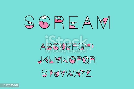 Scream hand drawn vector type font alphabet abc in cartoon style open mouth cavity voice laugh