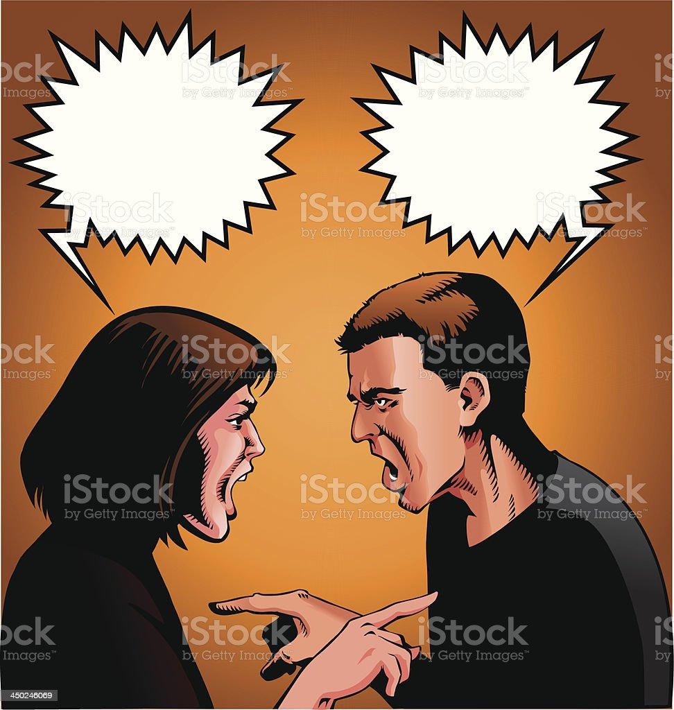 Screaming Argument vector art illustration