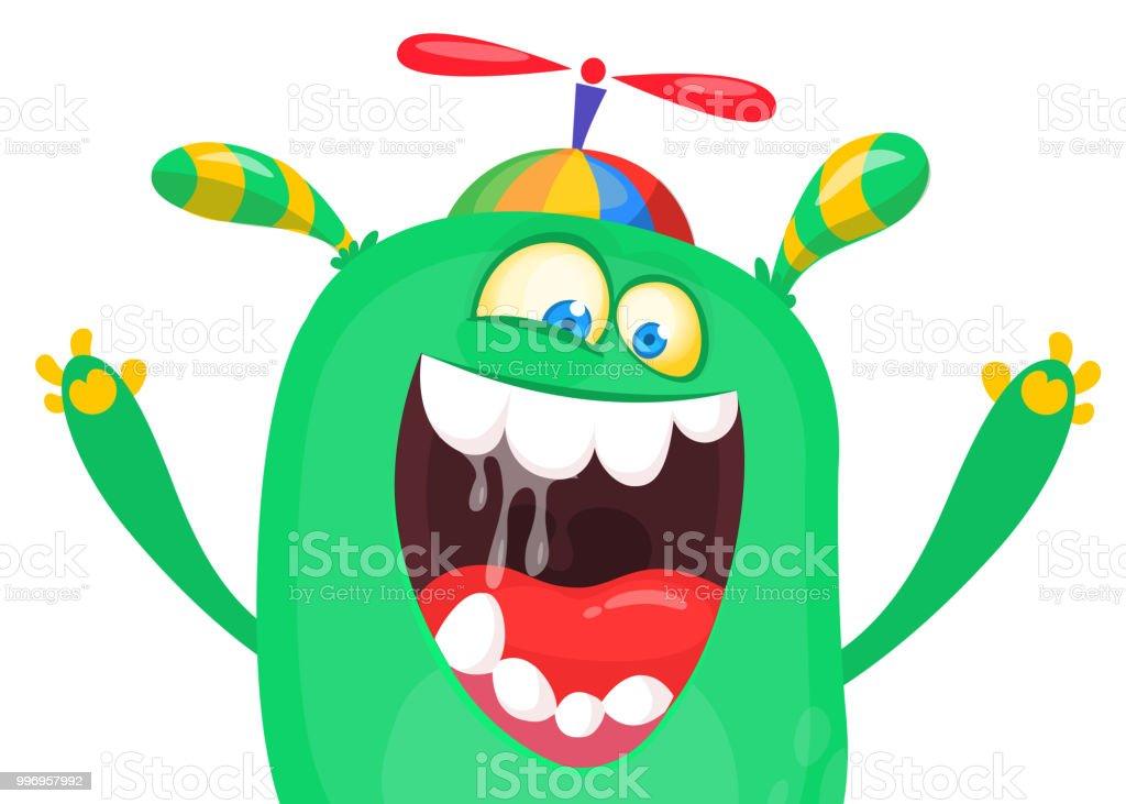 Vetores De Gritando O Rosto Do Monstro Dos Desenhos Animados Design De Personagens De Halloween Para Imprimir E Mais Imagens De Alienigena Istock