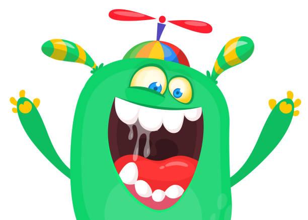 Cartoon Monster Gesicht zu schreien. Halloween-Charakter-Design für print – Vektorgrafik