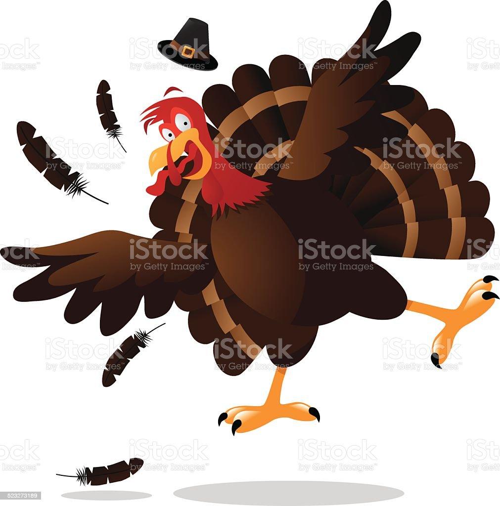 Screaming cartoon turkey vector art illustration