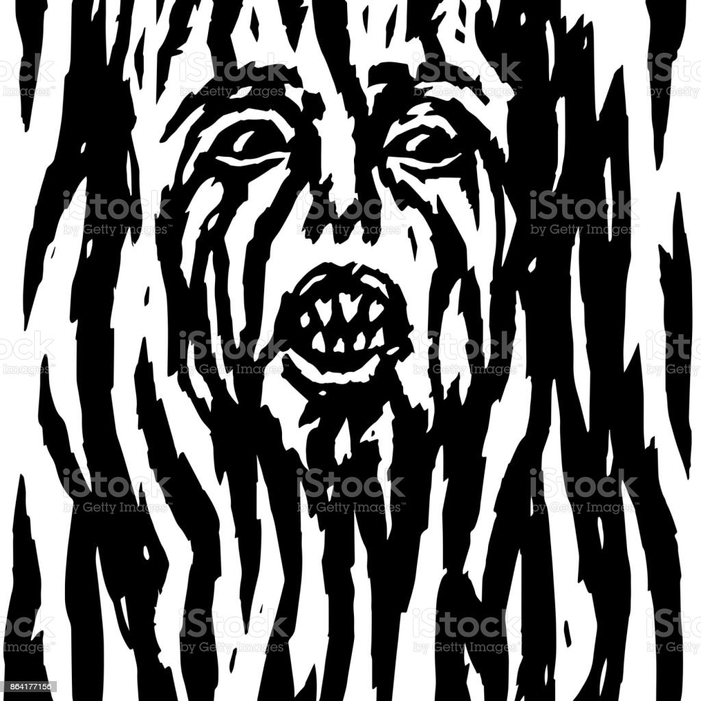 Screaming demon with bleeding woman's face. Vector illustration. royalty-free screaming demon with bleeding womans face vector illustration stock vector art & more images of abstract
