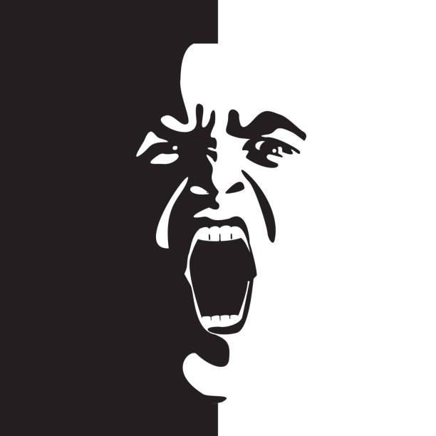 ilustrações de stock, clip art, desenhos animados e ícones de screaming face shout in black and white vector graphics. - furioso