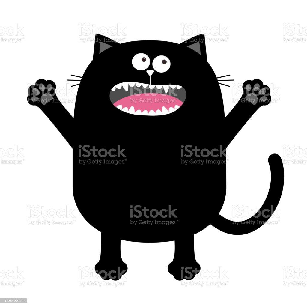 Vetores De Gritando Miando Silhueta De Gato Preto Segurando As