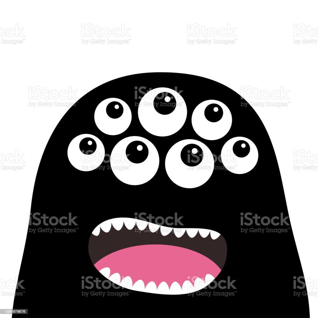 Schreiende Monster Kopf Silhouette Viele Augen Zähne Zunge Schwarz