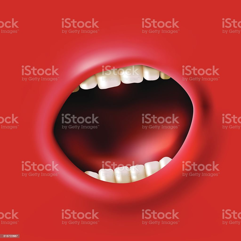 screaming mouth vector art illustration