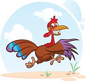 Screaming running cartoon turkey bird character. Vector illustration of turkey escape