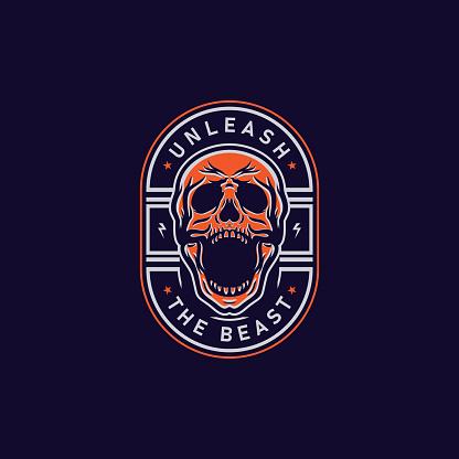 Screaming Skull Badge T-Shirt Design Illustration