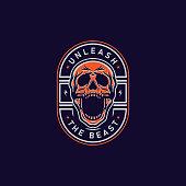 istock Screaming Skull Badge T-Shirt Design Illustration 1216398710