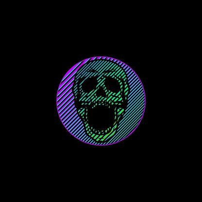 Screaming Skull Cyberpunk Design Art