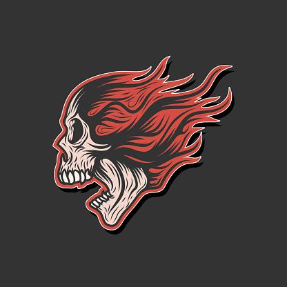 Screaming Skull Flame Logo Branding