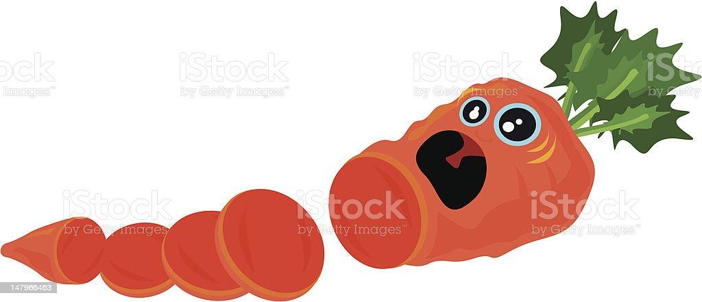 Screaming Sliced Carrot vector art illustration
