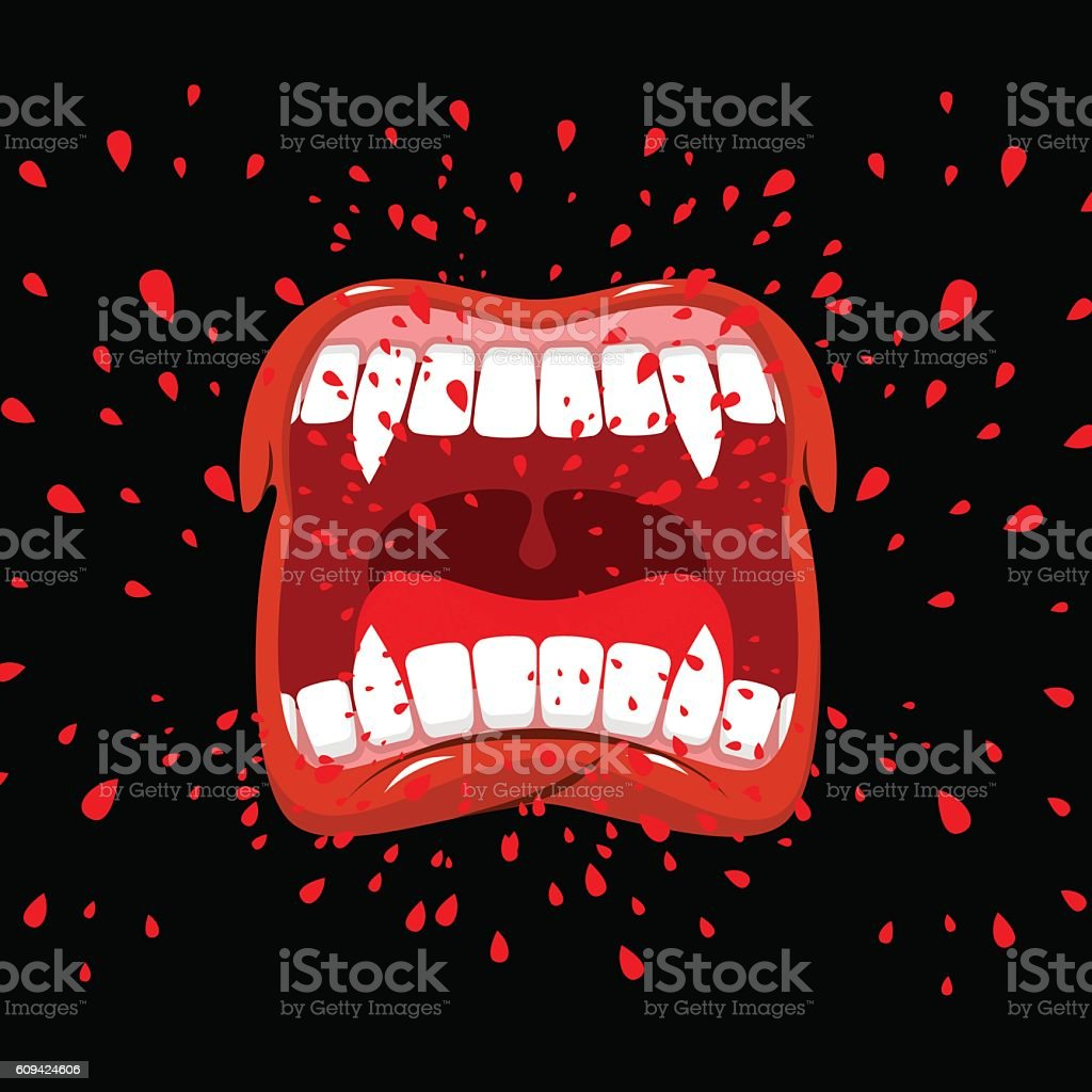 Screaming vampire. Dracula screams. Violent emotion. Open your m vector art illustration