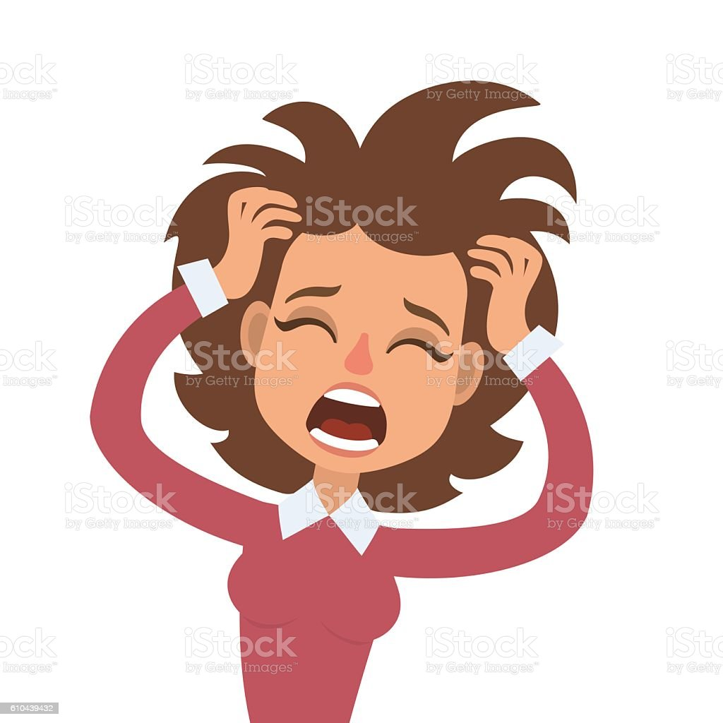 Screaming woman vector art illustration