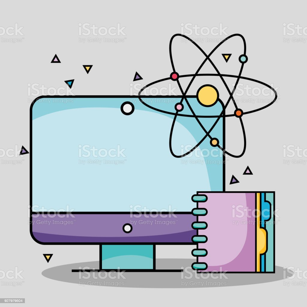 Screen computer with notebook and atom school utensils stock vector screen computer with notebook and atom school utensils royalty free screen computer with notebook and voltagebd Images