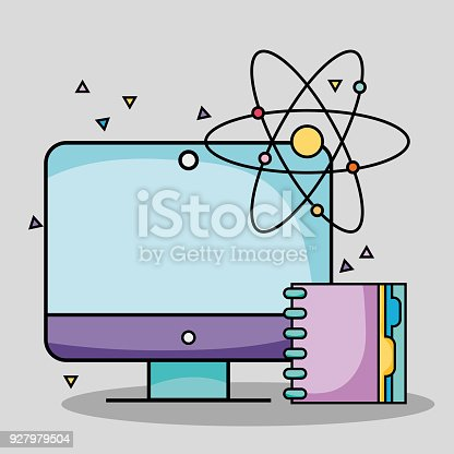 Screen computer with notebook and atom school utensils stock vector screen computer with notebook and atom school utensils stock vector art more images of atom 927979504 istock voltagebd Images