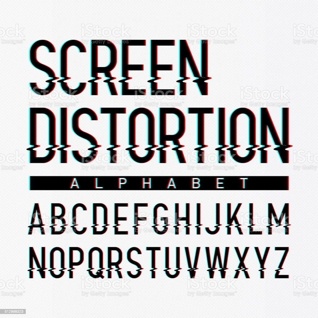 Screen distortion alphabet vector art illustration