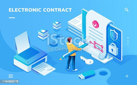 istock Screen for electronic contract or signature smartphone application. Man with pen signing e-contract with e-signature near printer with document and safe lock. Page for e-business. Digital deal 1164659778