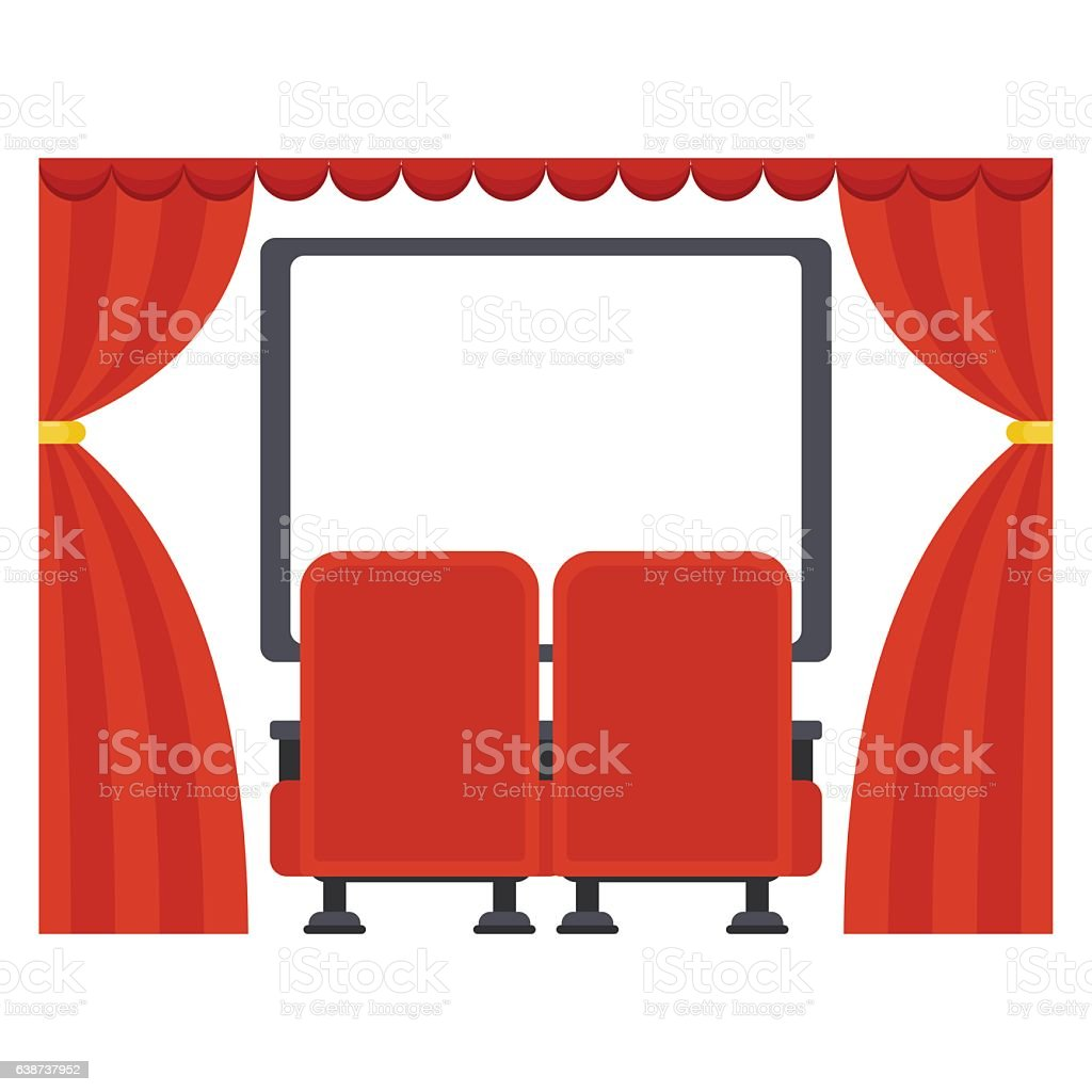 screen in movie theater vector art illustration