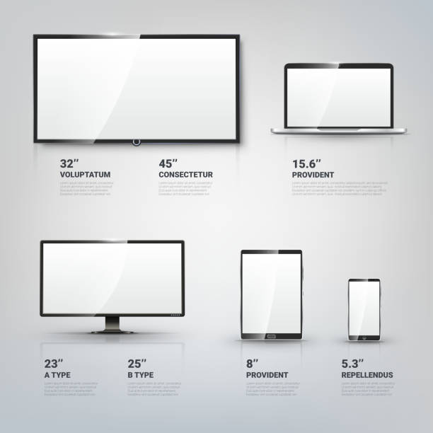 tv screen, lcd monitor, notebook, tablet computer, mobile phone templates - electronics stock illustrations, clip art, cartoons, & icons